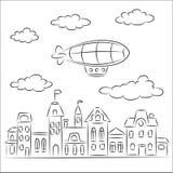 Luchtschip over de oude stad Vector Illustratie