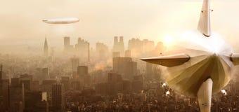 Luchtschip over een stad stock afbeelding