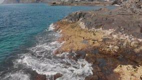 Luchtschot Een golf bespat op de steenkust De plonsen worden omhoog bespoten De oceaanoppervlakte is blauw en turkoois water stock footage