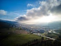 Luchtsneeuw Behandelde van het de Lengtelandschap van de Bomenhommel de Winteraard Mooi Europa Forest Mountain Travel White Famou Stock Afbeelding