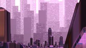 Luchtspiegeling over de fantastische stad royalty-vrije illustratie