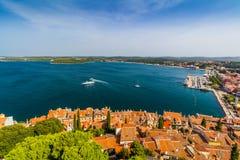 Luchtspruit van Oude stad Rovinj, Istria, Kroatië Stock Fotografie