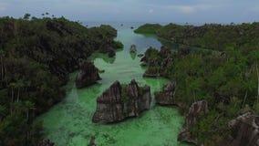 Luchtspruiteiland van radja ampat Papoea stock video