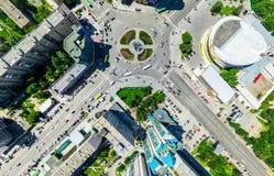 Luchtstadsmening Stedelijk Landschap Helikopterschot Panoramisch beeld royalty-vrije stock foto's