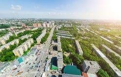 Luchtstadsmening Stedelijk Landschap Helikopterschot Panoramisch beeld stock foto