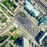 Luchtstadsmening Stedelijk Landschap Helikopterschot Panoramisch beeld stock fotografie