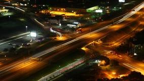 Luchttimelapse, de kruising van San Antonio, Texas bij nacht 4K stock video