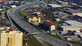 Luchttimelapsemening van de snelwegen van San Antonio 4K stock videobeelden