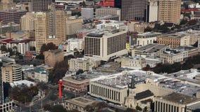 Luchttimelapsemening van de stadscentrum van San Antonio 4K stock footage