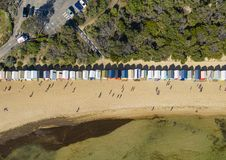 Luchttop down mening van Brighton Bathing Boxes in Melbourne royalty-vrije stock foto