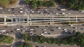 Luchttop down mening van opstopping De stad van Sao Paulo, Brazilië stock footage