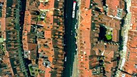Luchttop down mening van straten van de Oude Stad Bern, Zwitserland stock footage