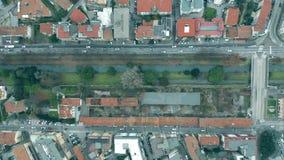 Luchttop down mening van straten van Treviso, Italië stock video