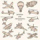 Luchtvaart en Luchtvaartkundeobjecten vectorinzameling Royalty-vrije Stock Fotografie