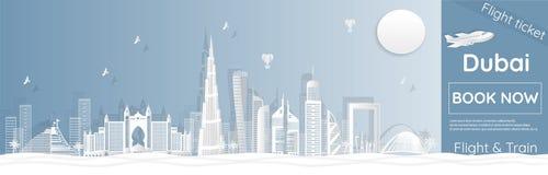 Luchtvaartlijn het reclamemalplaatje in Doubai die naar het Document van Doubai reizen sneed illustraties - vector royalty-vrije stock afbeelding