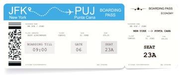 Luchtvaartlijn instapkaart of vliegtuigkaartje stock illustratie