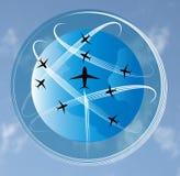 Luchtvaartlijnen rond de wereld Royalty-vrije Stock Foto