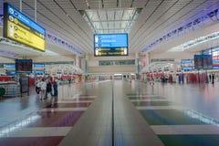 Luchtvaartlijnen van luchthaven de Eindincheckbalies Royalty-vrije Stock Foto's
