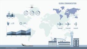 Luchtvaartlijninfographics Grafieken en diagram van vervoerszaken Globale kaart met vliegtuigen stock illustratie