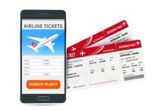 Luchtvaartlijnkaartjes die online app telefoon en twee instapkaarten boeken Concept reis, reis of zaken geïsoleerde royalty-vrije illustratie
