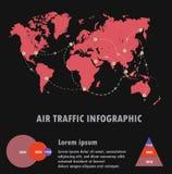 Luchtvaartlijnverkeer op wereld en infographic, luchtverkeersvector Stock Afbeeldingen