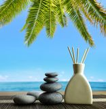 Luchtverfrissing met houten aromastokken en zen kiezelstenen op het strand Stock Fotografie