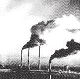 Luchtvervuiling door fabrieken - ets Stock Afbeelding