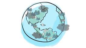 Luchtvervuiling, over bevolking en Globaal het Verwarmen probleemconcept De hand trekt de illustratie van de eindemotie stock video