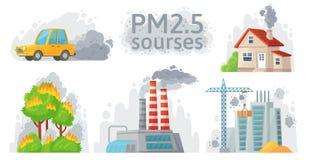 Luchtvervuilingsbron PM 2 stof 5, vuil milieu en verontreinigde lucht bron infographic vectorillustratie royalty-vrije illustratie