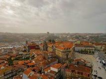 Luchtvew van historisch stadscentrum in Porto, Portugal royalty-vrije stock afbeeldingen