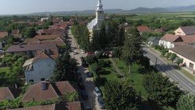 Luchtvideo van een stad in Roemenië Satu Mare stock video