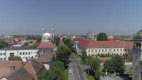 Luchtvideo van een stad in Roemenië Satu Mare stock videobeelden