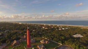 Luchtvideo van Vuurtoren in Florida stock videobeelden