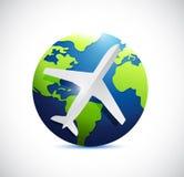 Luchtvliegtuig en internationale wereldbol. Royalty-vrije Stock Foto's
