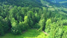 Luchtvlucht in de bergen van de Karpaten stock videobeelden