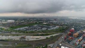 Luchtvlucht naar Centrumstad Philadelphia in Stormachtig Weer stock videobeelden