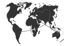 Luchtvlucht tussen steden, kaart van luchtvaartlijnvluchten Stock Afbeelding