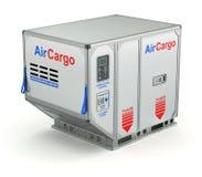 Luchtvrachtcontainer met metaalpallet Stock Foto