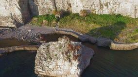 Luchtzonsondergangweergeven van het strand van de kustmeta van Sorrento, reisconcept, ruimte voor tekst, reis de vakantie aan van stock footage