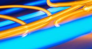 Luci al neon blu del cerchio dell'oro royalty illustrazione gratis