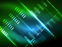 Luci al neon futuristiche su fondo scuro, ambiti di provenienza techni astratti digitali Fotografia Stock Libera da Diritti