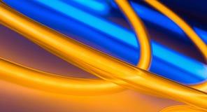 Luci al neon, oro e illuminazione di neon blu del cerchio illustrazione di stock