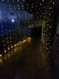 Luci all'aperto decorative che appendono alla notte immagine stock