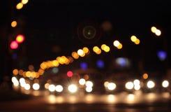 Luci astratte Defocused del bokeh delle automobili Fotografia Stock Libera da Diritti