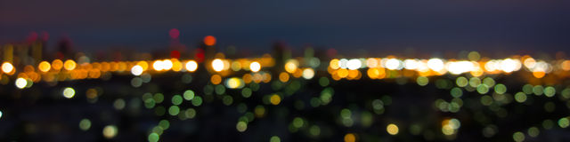 Luci astratte vaghe del fondo, paesaggio urbano dell'orizzonte Immagine Stock