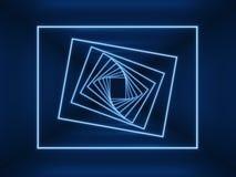 Luci blu d'ardore del neon Quadrati al neon torti in tunnel vuoto scuro lungo Fondo futuristico di Digital Fotografie Stock