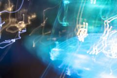 Luci blu eclettiche di notte fotografia stock
