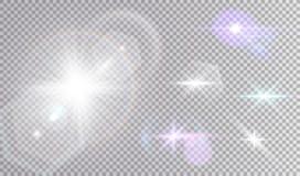 Luci cosmiche bianche e colorate messe Fotografia Stock