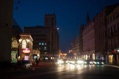 Luci della città di Bucarest sul boulevard di Calea Victoriei Immagini Stock Libere da Diritti