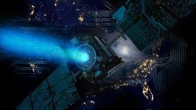 Luci della città di U.S.A. e satellite dello spazio con i pannelli di mothercoard immagine stock